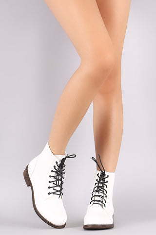 Round Toe Combat Lace-Up Ankle Boots
