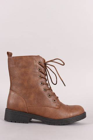 Round Toe Combat Lace-Up Booties
