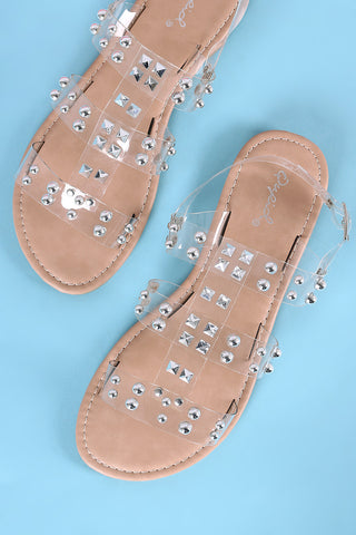 Qupid Studded Strappy Slingback Flat Sandal