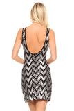 Women's Chevron Sequinned Scoop Back Dress