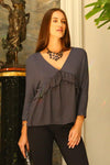 Women's 3/4 Three Quarter Sleeve Ruffled V-neck Top