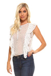 Women's Polka Dot Ruffle Top