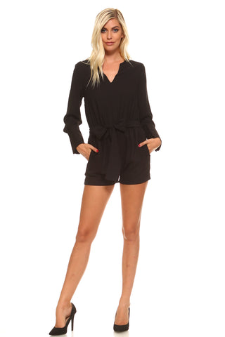 Women's Long Sleeve Tie Romper
