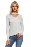 Women's Light Knit Sweater Top With Cut-Out Neck