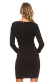 Women's 3/4 Three Quarter Sleeved Bodycon Dress with Cutout Chest