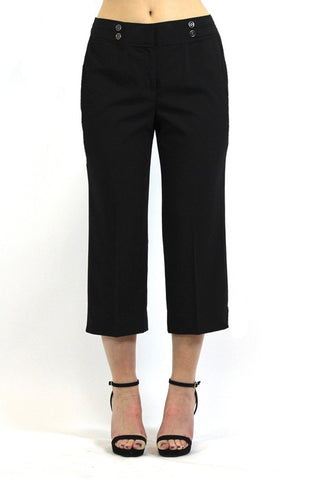 Women's Larry Levine Crop Stretch Pants with Double Buttons