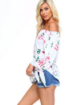 Women's Floral Off Shoulder Tie Top