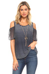 Women's Cold Shoulder Top with Necklace