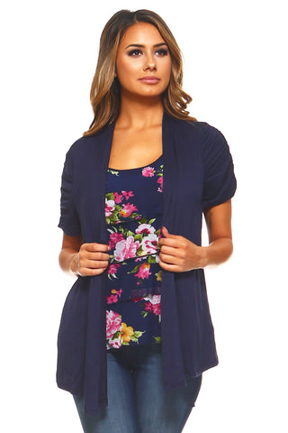 Women's Floral Print Top with Attached Cardigan
