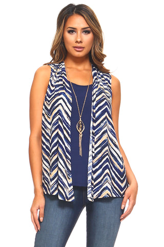 Women's Zig Zag Sleeveless Top with Attached Camisole and Necklace