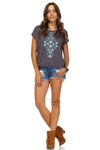 Women's Aztec Print Embroidered Trim Top