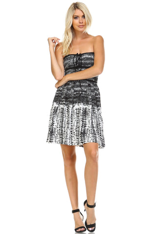 Women's Black & White Abstract Printed Strapless Dress