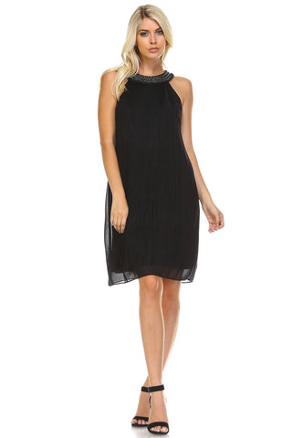 Women's Beaded Neckline Fringe Dress