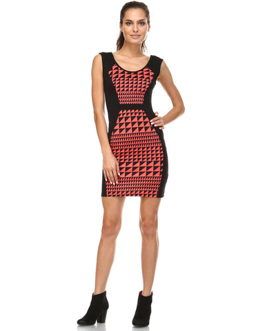 Women's Geo Print Colorblock Bodycon Dress