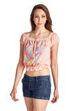 Women's Aztec Floral Embroidered Bell Sleeve Crop Top