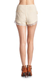 Women's Woven Tie Lace Trim Shorts