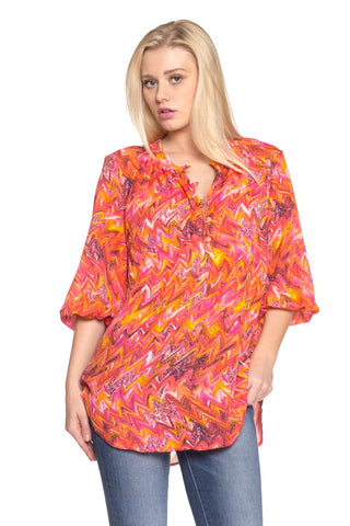 Women's 3/4 Sleeve Printed Chiffon Button Top