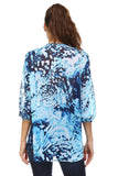Women's 3/4 Three Quarter Sleeve Printed Chiffon Button Top