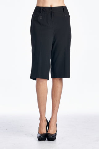 Larry Levine Stretch Capris with Zipper Pockets