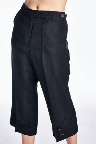 Larry Levine Capris with Tonal Embroider at Hem