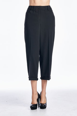 Women's Black Sleek & Slim Capris