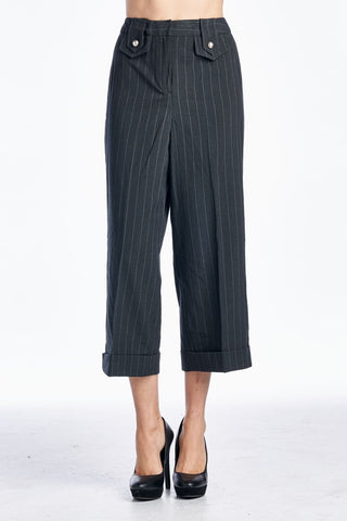 Larry Levine Striped Career Capri