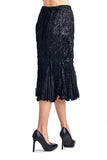 Women's Pleated Velour with Chiffon Long Skirt