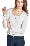 Women's Button Detail Long Sleeve Top