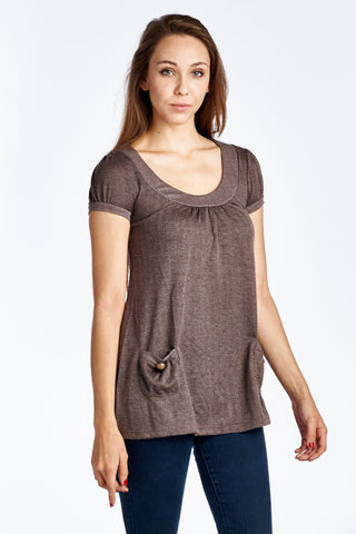 Women's Bell Sleeve Tunic with Front Pocket Detail