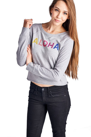 Women's Long Sleeve Aloha Screened Top