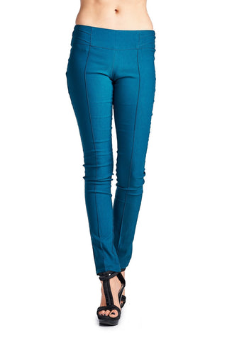 Women's Teal Fitted Stretch Pants
