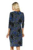 Women's 3/4 Three Quarter Sleeve V-neck Dress with Abstract Patterns