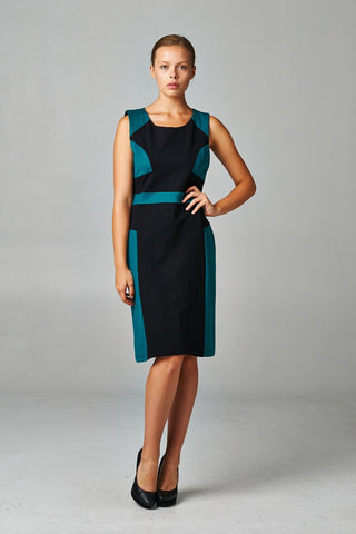 Women's Jade & Black Ponte Career Dress