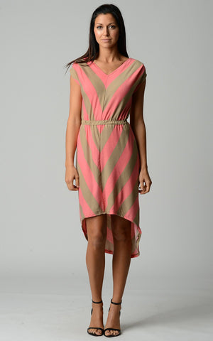 Women's Chevron Stripe Jersey Hi-Low Dress