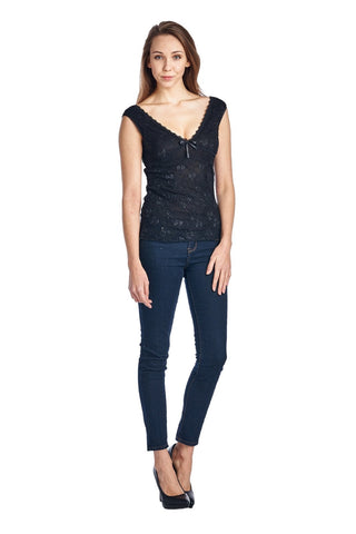 Women's Stretched Lace Double V Neck Tank