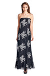 Women's Embroidered Mesh Trumpet Gown with Lace up back