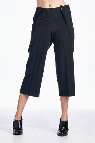 Women's Crop Pants with Suspender Straps