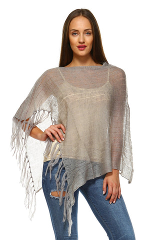 Women's Open Knit Fringe Poncho