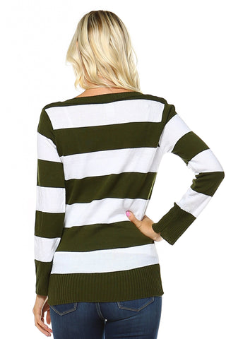 Women's V-Neck Stripe Sweater
