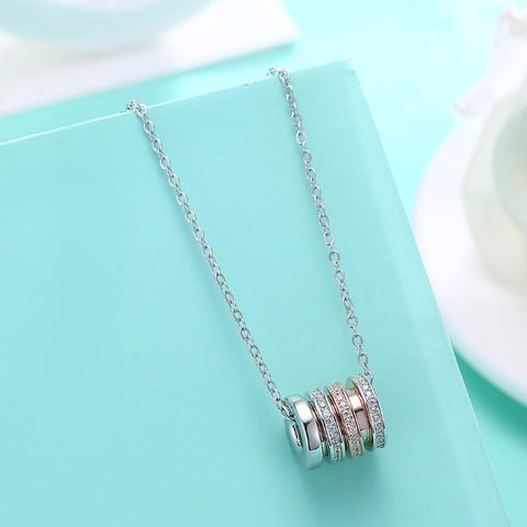 Swarovski Crystal 18K White Gold over Sterling Silver Two Tone Necklace