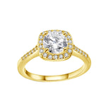 18K White Gold Plated Swarovski Crystal Halo Ring - 3 Colors Available