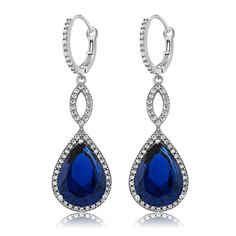 Sapphire Pave Teardrop Infinity Drop Embellished with Swarovski Crystals in 18K White Gold Plated