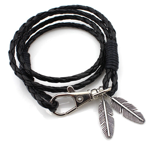 2 Feathers Fly Woven Leather Bracelet