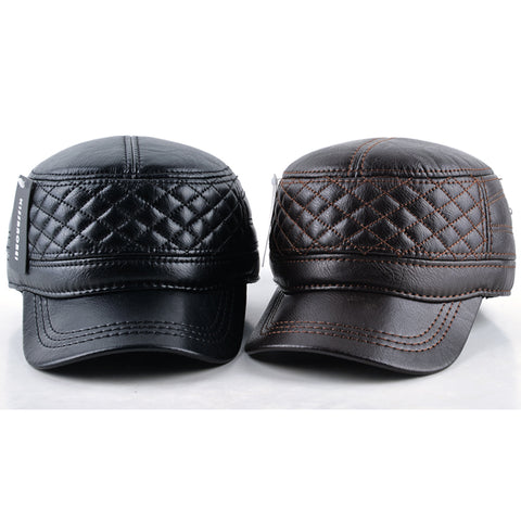 Vegan Leather Plush Diamond Stitch Baseball Cap