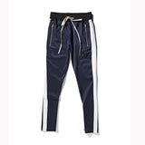 Classic One Stripe Drawstring Sweatpants w/Ankle Zipper