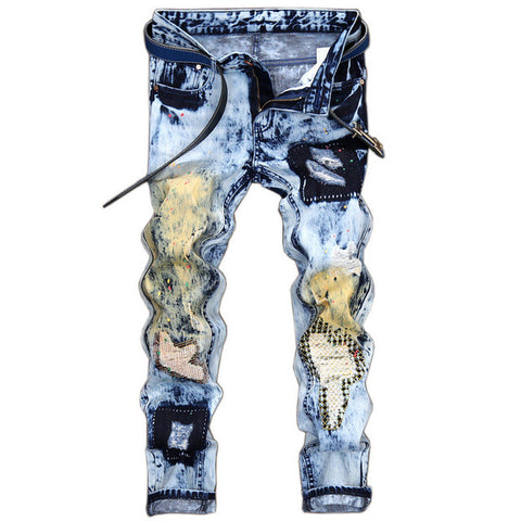 Men's Fashion Patchwork Distressed Slim Jeans