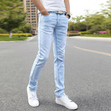 Men's Straight Skinny Blue Stretch Jeans