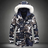 Men's Extended Warm Long Camo Coats Plus Size Faux Fur Hood