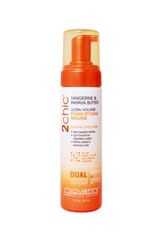 Giovanni 2Chic® Tangerine & Papaya Butter Ultra-Volume Foam Styling Mousse (7oz)