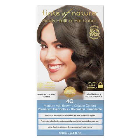 Tints of Nature 4C Medium Ash Brown - Permanent Hair Colour (130ml)